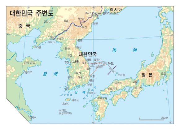 Map of Dokdo's surrounding areas